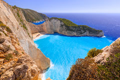 Beautiful Navagio Beach on Zakynthos Island Stock Photo