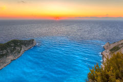 Beautiful Navagio Beach on Zakynthos Island Stock Photos