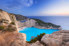 Beautiful Navagio Beach on Zakynthos Island at sunset Royalty Free Stock Photos