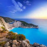 Beautiful Navagio Beach on Zakynthos Island at sunset Royalty Free Stock Photography