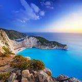 Beautiful Navagio Beach on Zakynthos Island at sunset Royalty Free Stock Photography