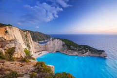 Beautiful Navagio Beach on Zakynthos Island at sunset. Navagio Beach (Shipwreck beach) on Zakynthos Island at sunset, Greece Royalty Free Stock Photo
