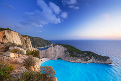 Beautiful Navagio Beach on Zakynthos Island at sunset Stock Images