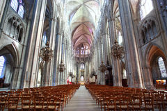 The Beautiful Nave of Cathedral Saint-Etienne in Bourges Stock Photos