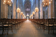 The Beautiful Nave of Cathedral Saint-Etienne in Bourges Stock Images