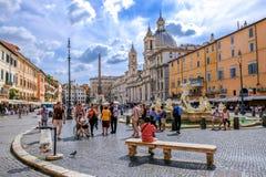 Beautiful Navona Square or Piazza Navona, Rome stock image