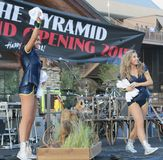 Beautiful NBA Memphis Grizzlies Cheerleaders onstage in downtown Memphis Royalty Free Stock Images