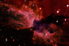 Beautiful nebula and bright stars in outer space, glowing mysterious universe royalty free stock photo
