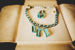 Beautiful necklace with blue jewels and earrings lie on leather Royalty Free Stock Photos