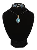 Beautiful necklace and earrings on mannequin isolated on white Royalty Free Stock Images