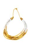 Beautiful necklace handmade gold color Stock Photography