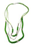 Beautiful necklace handmade green color Stock Photo