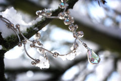 Beautiful necklace in snowy scene Royalty Free Stock Image