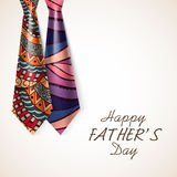 Beautiful neckties for Happy Fathers Day. Stock Image