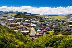Beautiful neigborhood with houses. Location: New Zealand, capital city Wellington Royalty Free Stock Photography