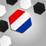 Beautiful Netherlands Ball Texture. Leather hexagons with the Netherlands flag in the middle Stock Photography
