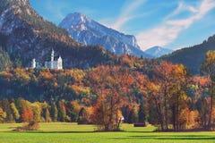 Neuschwanstein castle in Bavaria, Germany, popular travel destination. Beautiful Neuschwanstein castle in Bavaria, Germany, popular travel destination stock images