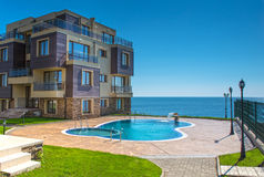 Beautiful new apartment building, outdoor Royalty Free Stock Photo