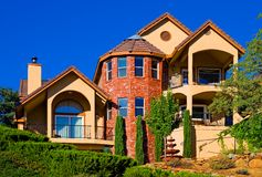 Beautiful new brick house Royalty Free Stock Images