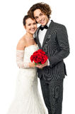 Beautiful new bridegroom smiles for the camera Royalty Free Stock Photos