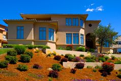 Beautiful new house. On the hill Stock Photo