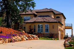 Beautiful new house. On the hill Stock Photography