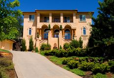 Beautiful new house. On the hill Royalty Free Stock Photography