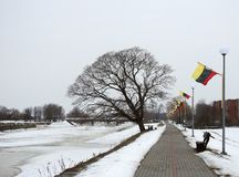Path near river Skirvyte in Rusne town, Lithuania Stock Image