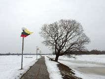 Path near river Pakalne in Rusne town, Lithuania Royalty Free Stock Photos
