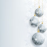 Beautiful New Year And Christmas Card With Gray Christmas Ball Stock Image