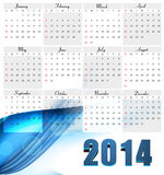 Beautiful New year for 2014 calendar colorful wave Royalty Free Stock Images
