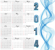 Beautiful New Year 2014 calendar  Royalty Free Stock Photo