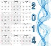Beautiful New Year 2014 calendar  Royalty Free Stock Photo