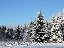 Happy New Year card done using snowy trees , Lithuania royalty free stock image