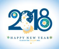 Beautiful New Year card by 2018. Royalty Free Stock Photography