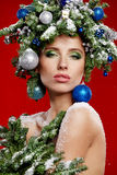 Beautiful New Year and Christmas Tree Holiday Hairstyle Royalty Free Stock Photos
