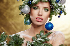 Beautiful New Year and Christmas Tree Holiday Hairstyle Stock Photo