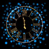 Beautiful New Year greeting card with blue glittering lights and a golden clock on black background.  royalty free illustration