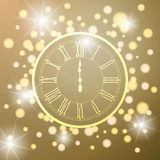 Beautiful New Year greeting card with glittering lights and a clock on yellow background vector illustration