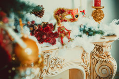 Beautiful new year living room with decorated Christmas tree. Christmas living room with Christmas tree Stock Photography