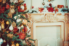 Beautiful new year living room with decorated Christmas tree. Christmas living room with Christmas tree Stock Photo