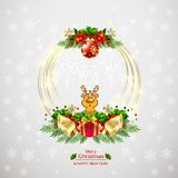 New Year and Merry Christmas wreath background vector illustration