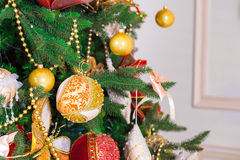 Beautiful new year room with decorated Christmas tree. Christmas living room with Christmas tree Stock Photo