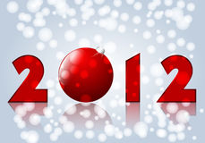Beautiful New Year's Card. Vector beautiful red, silver, white New Year's Card with snowflakes Royalty Free Stock Photo
