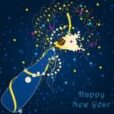 Beautiful New Year's Illustration. Vector beautiful New Year's Illustration with champagne bottle vector illustration