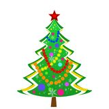 Beautiful new-year tree on a white background. Illustration Royalty Free Stock Image