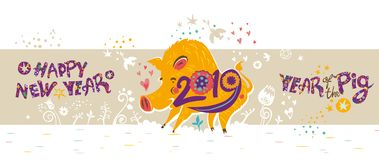 Beautiful New Years banner with a cartoon yellow boar symbol of 2019 on turquoise background. Beautiful New Years banner with a cartoon yellow boar symbol of royalty free illustration
