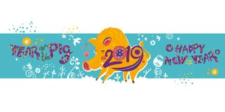 Beautiful New Years banner with a cartoon yellow boar symbol of 2019 on turquoise background. Year of the Pig 2019 on the Chinese calendar vector illustration