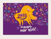 Beautiful New Years card with a cartoon yellow boar symbol of 2019 on the Chinese calendar. Year of the Pig. 2019. Cute yellow pig on a bright motley holiday vector illustration