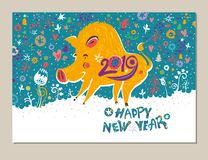 Beautiful New Years card with a cartoon yellow boar symbol of 2019 on the Chinese calendar. Year of the Pig. 2019. Cute yellow pig on a bright motley holiday royalty free illustration